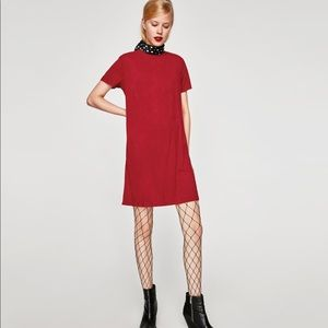 Red Ribbed Faux Suede Dress, NWT